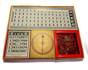 Vintage  Game Bingo Lowe Co. Cards Markers Spinner. Colorful Graphics.. for Man Cave Game Room.