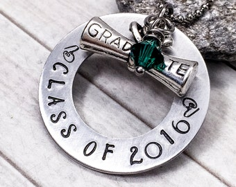 Gift for Graduate - Graduation Gift - Kindergarten Graduation Gift - Class of 2016 - High School Senior Necklace