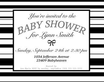 Babyshower invite Black and White stripes (bachelor party, wedding invite, birthday invite)