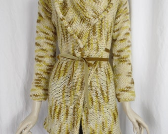 Vintage chunky hand knit waterfall style wrap cardigan with velvet ribbon tie belt/ Made in Italy/ mustard yellows: Medium
