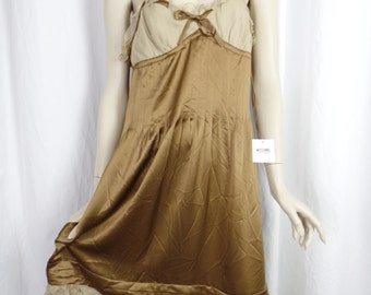 Deadstock Moschino Cheap & Chic strappy bronze silk with nude ruffles slipdress/ lingerie as outwear : IT 46=US woman 12
