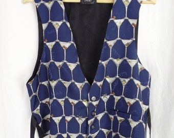 1994 Limited edition NICOLE MILLER Martini cocktail silk vest/ cobalt blue with green olive and lemon yellow twist: size unisex L