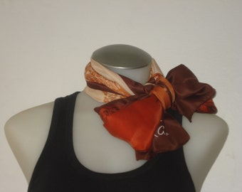 Vintage Monique Martin Long Scarf - Karin -  Floral Brown Scarves - Womens Accessories 1970s - Italy