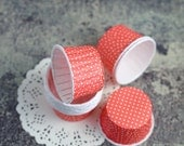 SALE - 15 small red cups with small white polka dots