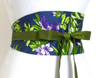 "Reversible Obi Belt ""Isaline"" (flowers, midnight blue base, green, purple) oriental, waist clencher by Lorella Créations"