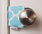 The Original Cushy Closer Door Cushion - Aqua & White Quatrefoil - Door Latch Cover