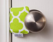 The Original Cushy Closer Door Cushion - Lime Green & White Quatrefoil - Door Latch Cover
