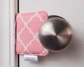 The Original Cushy Closer Door Cushion - Pink & White Quatrefoil (small) - Door Latch Cover