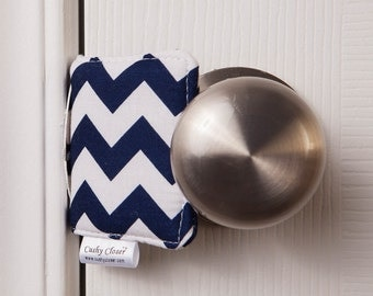 The Original Cushy Closer Door Cushion - Navy & White Chevron