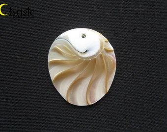 Nautilus Shell oval egg cabochon pendant with hole 35x40mm