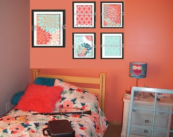 Coral Seafoam Teal Floral Modern inspired  Art Prints Collection (4) 8x10 (1) 11x14 Prints (UNFRAMED) #473281325