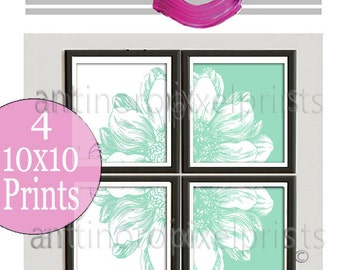 Four Panal Floral Seafoam Flower Wall Art Picture Collection - Set of (4) -10 x 10 Prints - (UNFRAMED) Custom Colors Available #478354851