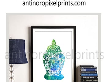 Watercolor Asian Pottery Ginger Jar Turquoise Blues Greens Art Wall print  -Set of (1) 30x30 (UNFRAMED) #248774629