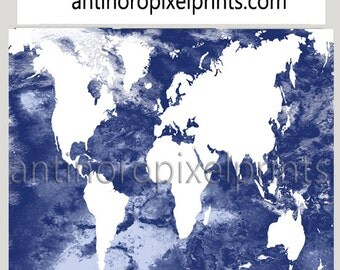 Navy White World Map Watercolor Poster Art Print  - 20x16 Poster Print, Custom Colors, Sizes Available (Unframed)