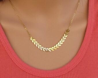 Gold necklace,  arrow necklace , chain  pendant.