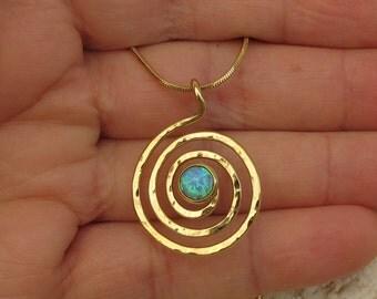 Opal necklace ,Spiral  gold pendant  necklace  ,25mm pendant (medium size),  6mm opal gemstone.