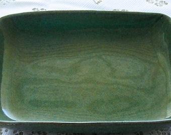 Vintage Pottery Bowl, oblong stoneware , glazed blue green speckled, rectangular farmhouse style serving dish