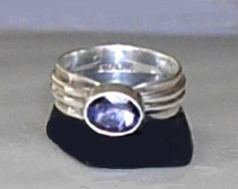 CLEARANCE Vintage Amethyst Sterling Silver Ring, amethyst gemstone ring, art deco style jewelry, gift for her, Ladies US Ring Size 6.5