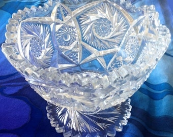 Brilliant Cut Glass Saw Tooth Compote, formal serving bowl, pinwheel pedestal bowl, buzz saw design, glass fruit bowl