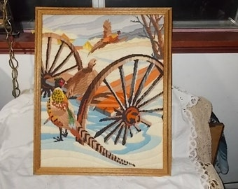 Pheasants /Old Wagon and Barn Fall Needle Work Picture /Not included in Coupon Discount Sale/