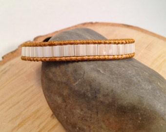 Sale - Ivory Beaded Wrapped Leather Bracelet, Chan Luu Style Bracelet, Bohemian Jewelry