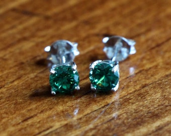 May Emerald Birthstone Earrings- Sterling Silver - Girl Jewelry - Birthday Present
