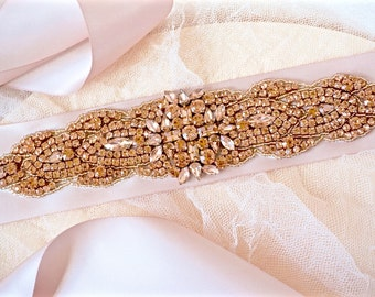 Blush and Rose Gold Bridal Sash,Blush Wedding Sash,Blush Crystal Bridal Sash,Blush and Rose Gold Bridal Belt,Blush and Rose Gold Accessory