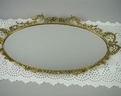 Vintage Ornate Vanity Mirror or Wall Mirror, Antique Gold Finish, Oval Mirror, Shabby Cottage, Large Size
