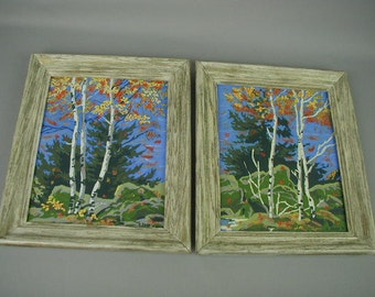Paint By the Numbers Pictures, Pair of Vintage Framed Paint By the Numbers, Fall Trees
