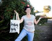 Teacher of the Year tote bag teacher gift