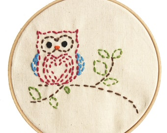 Embroidery Kit Little Woodland Owl Beginner Sewing Project