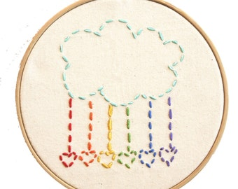 Embroidery Kit Little Cloud with Rainbow Hearts Beginner Sewing Project
