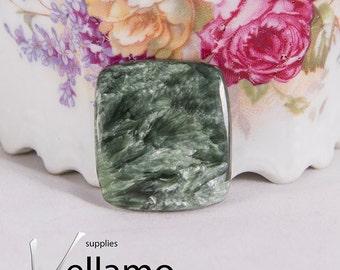 Natural green seraphinite cabochon or drilled untreatead rare gemstone, 23mm X 26mm, rare designer cabochon, green stone, jewellery supplies
