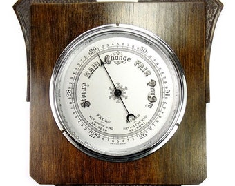 Very Nice Antique British Made Solid Oak Wooden Wall Barometer
