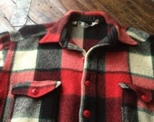 Vintage Woolrich USA ~ Red White Black Plaid Wool Flannel Shirt ~ Mid Century ~ Size XXXL ~ 3X Extra Large