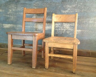 Vintage School Chair Preschool Toddler Seat Solid Oak