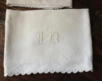 "French Linen Baby Crib Sheet, Childs Sheet Antique White Linen Bed Baby Crib Sheet 42 by 88"" Monogrammed"