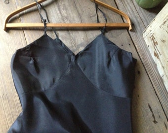 1920s Rayon Black Slip Night Gown, Sexy Nightgown Lingerie Sleeveless Bridal Honeymoon