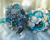 RESERVED for Mayra BALANCE Payment Brooch Bouquet Aqua and Ivory Beach Wedding Package Bridal Bouqet Bridesmaid Bouquet and Boutonnieres