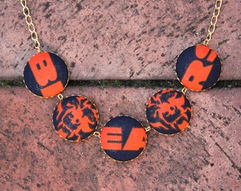 Chicago Bears Fabric Covered Button Necklace