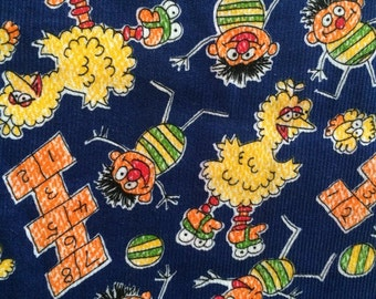 Rare Vintage 70s Sesame Street Fabric Ernie and Big Bird Roller Skates Bright Colors Blue Corduroy Muppets Inc. Jim Henson Cute Bright Fun