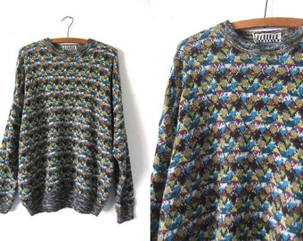 Rainbow Confetti Abstract Italian Sweater - 90s Hip Hop Style Slouchy fit Knit Jumper - Mens Large