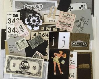 SCRAP PACK /40pc. Black White Ephemera Paper Pieces / Vintage DIY Kit for Mixed Media Inspiration Kit, Collage, Altered Art
