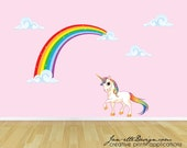 Rainbow Unicorn Wall Decal, Unicorn Wall Sticker, Rainbow Wall Art, Wall Stickers