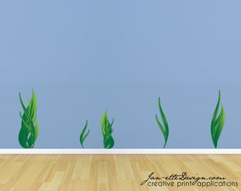 Seaweed Wall Decals,Ocean Floor Wall Stickers, Removable and Repositionable Fabric Wall Decals