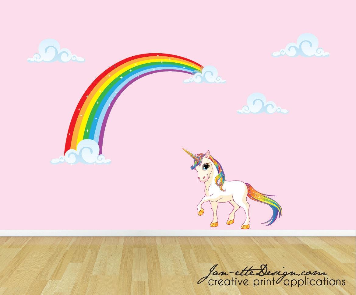 rainbow unicorn wall decal unicorn wall sticker rainbow wall unicorn rearing fantasy horse mythical creatures wall