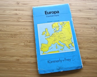 1970s Map of Europe - Vintage Map, Europe 1970s - Fold-out Map, Europe, Kummerly + Frey