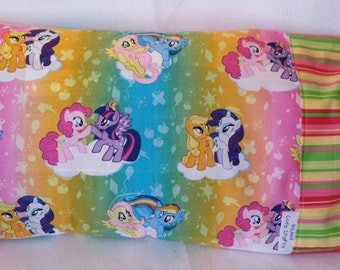 Cotton travel pillowcase featuring My Little Pony in rainbow colors