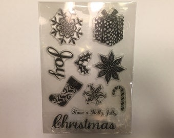 Have a Holly Jolly Christmas clear Stamp set, 27 - 80 mm (A11)