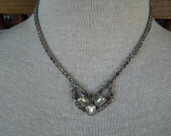 Vintage Rhinestone Necklace, Mid Century Piece with Multiple Rhinestones.